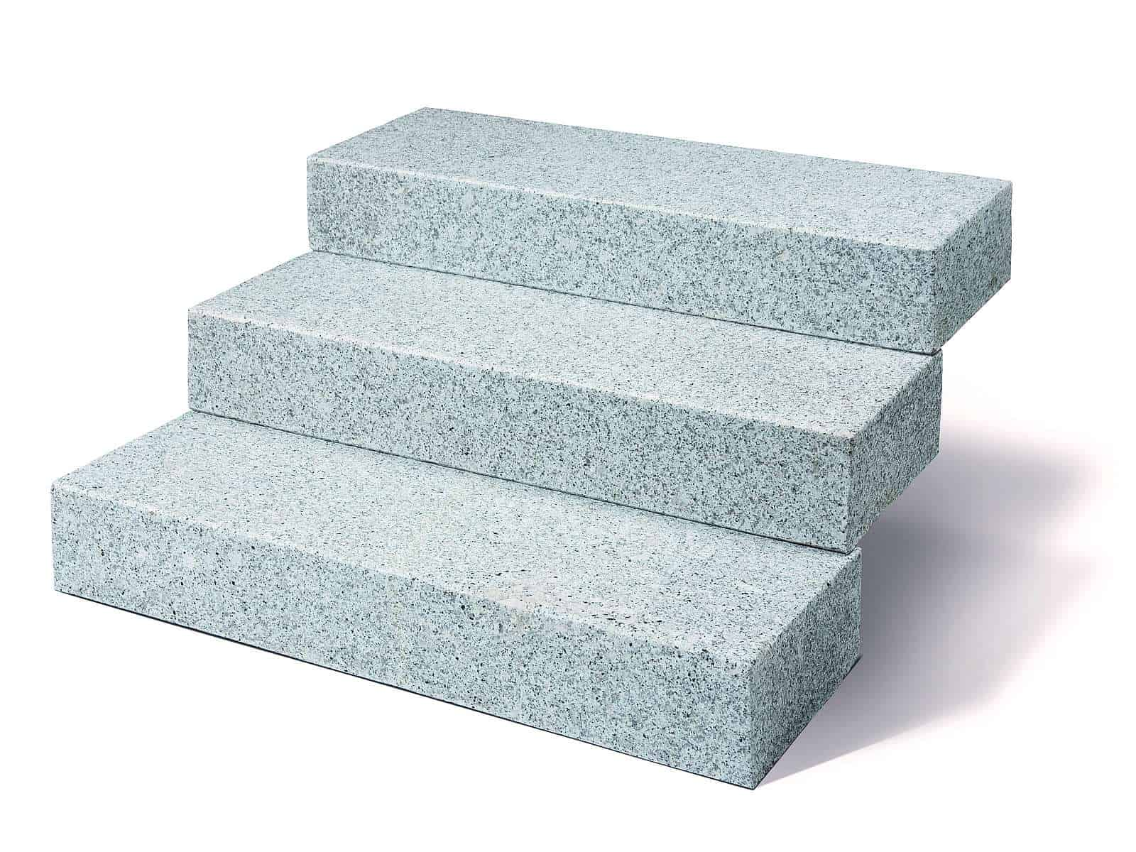 Die Blockstufe Granit Kristall grau.