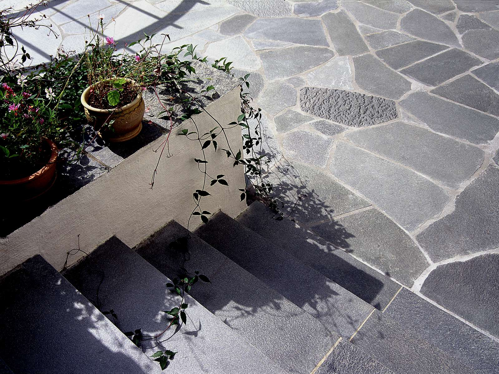 Polygonalplatten aus Flammet Quarzit