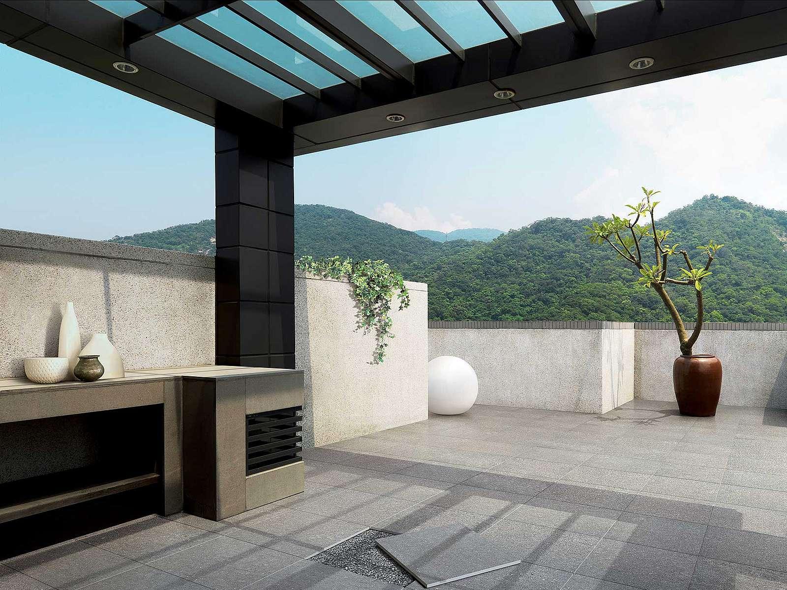 Moderne Terrasse mit Feinsteinzeug