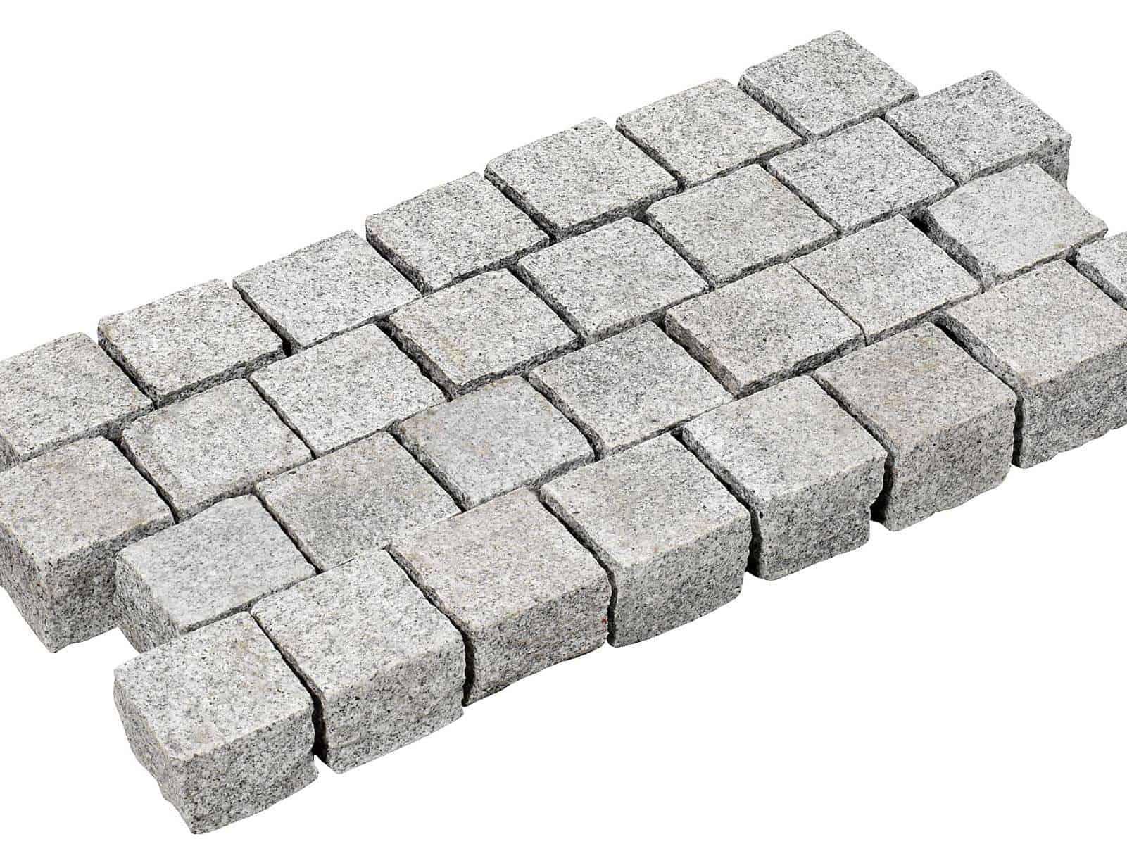 Pflastersteine aus Granit Kristall hellgrau