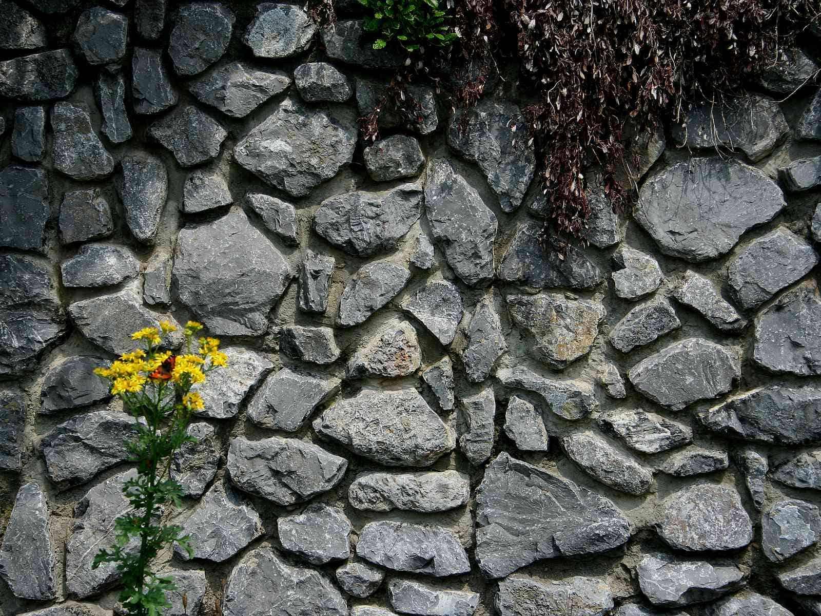 Gemörtelte Kalksteinmauer